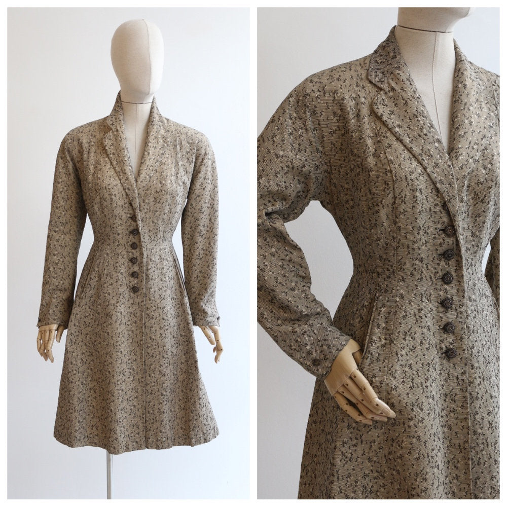 Vintage 1950's coat vintage 1950's gabardine coat 1950's abstract coat 1950's gabardine princess original 1950s princess coat UK 12 US 8