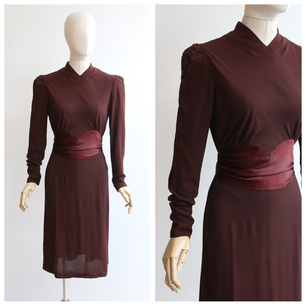Vintage 1940's dress vintage 1940's crepe silk dress original 1940 brown crepe silk soutache ribbon work satin dress original 40s UK 10 US 8