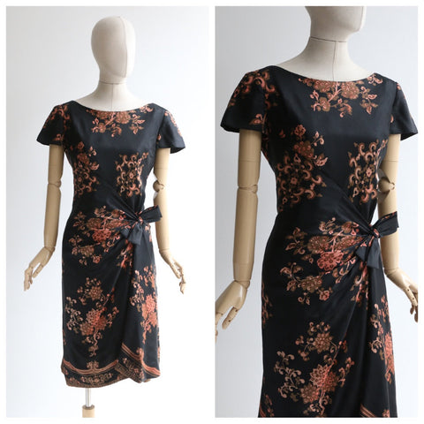 Vintage 1950's silk dress vintage 1950's silk german dress original 1950's floral silk wiggle dress hourglass black floral dress UK 12 US 8