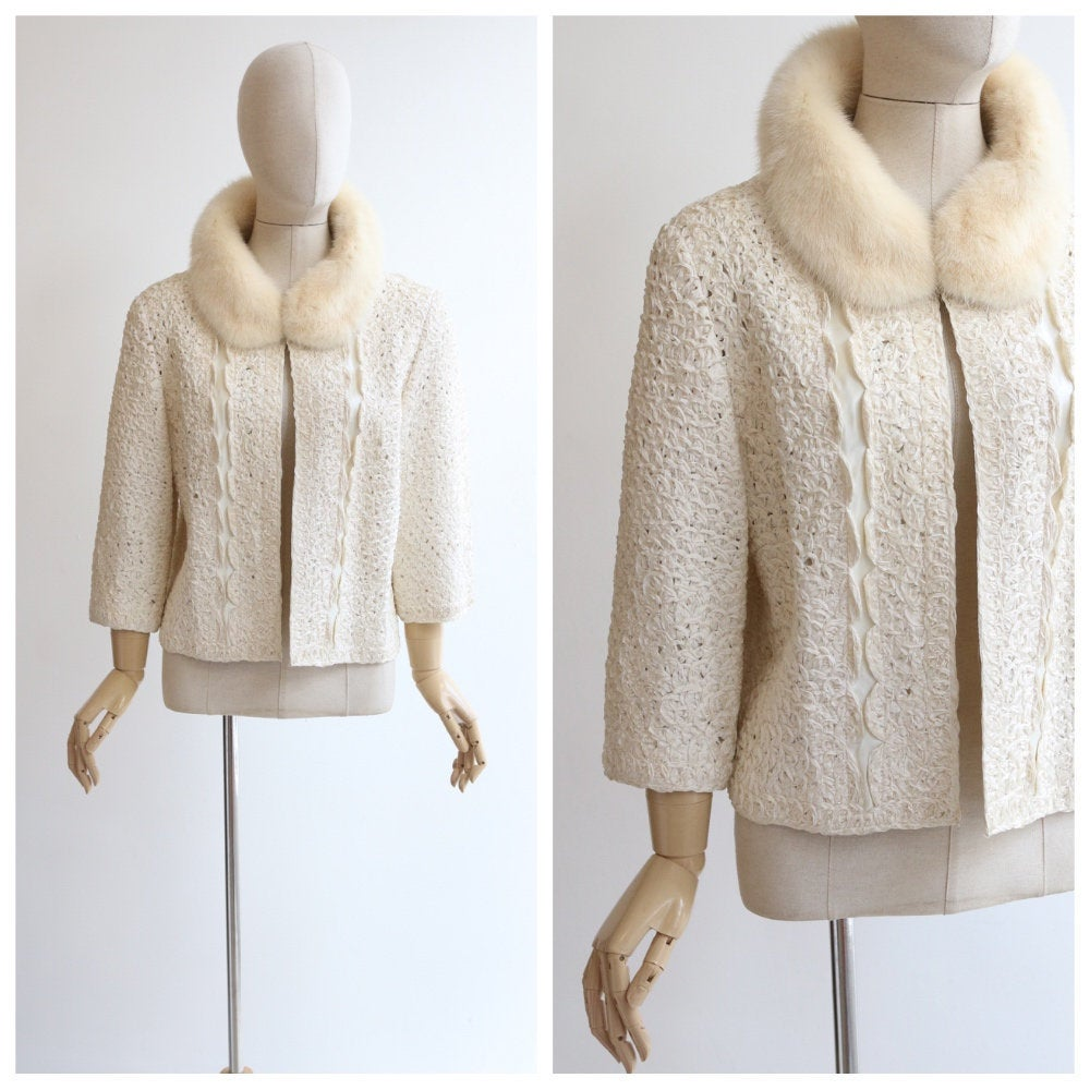 Vintage 1950's jacket vintage 1950's cream jacket original 1950's cream ribbon work jacket 1950's blonde mink collar jacket UK 10-12 US 6-8