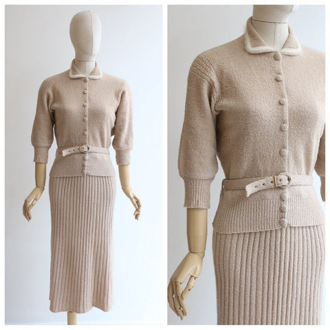 Vintage 1940's knit set vintage 1940's beige knitted cardigan and skirt set 1940's beige and cream knitted skirt set knitwear UK 10 US 6