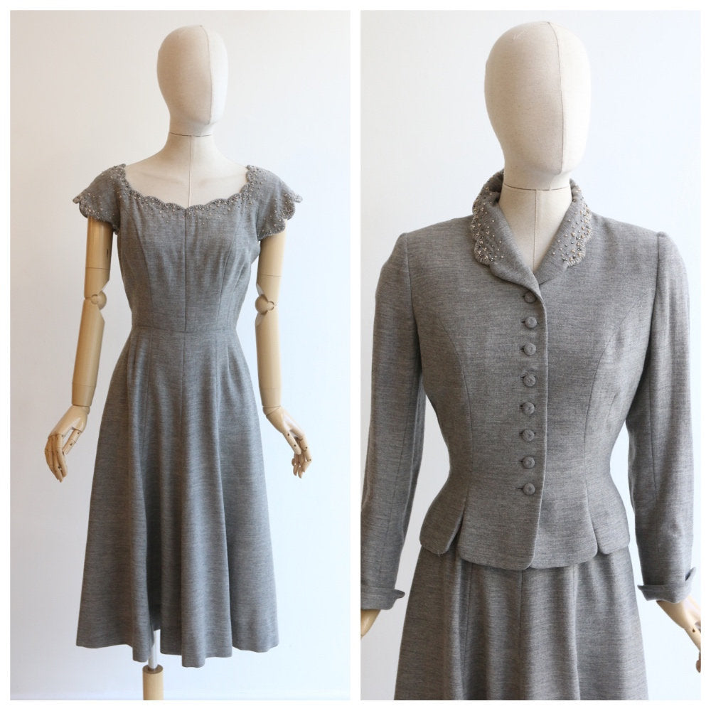 Vintage 1950's dress and matching jacket vintage 1950's grey dress and jacket vintage 1950's beaded vintage 1950's dress set UK 8-10 US 4-6