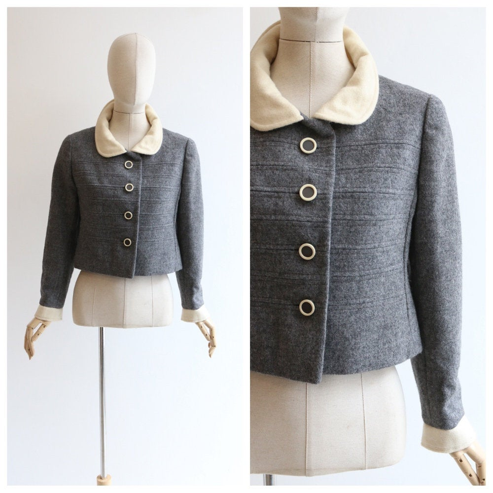 Vintage 1960's jacket vintage 1960's grey wool jacket original 1960's grey cream wool sixties jacket 1960's tailored jacket original 60s UK