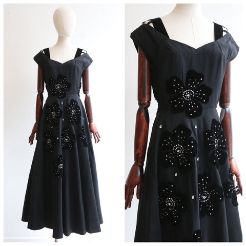 Vintage 1950's Victor Stiebel Dress vintage 1950's black gabardine velvet floral Victor Stiebel dress vintage couture 1950's Dress UK 10