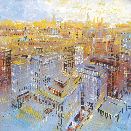 Urban Reflections Office Art - Brian Elwell's Urban Reflections is inspired by the rapidly changing urban landscape of London and other cities.
