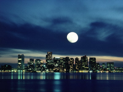 Big City, Bright Lights - Boston Skyline Reflecting in Harbor with Full Moon (#BCBL_10)