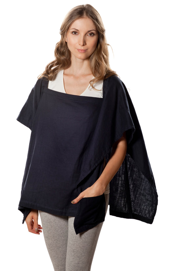 Classic Nursing Cover Navy Blue Square