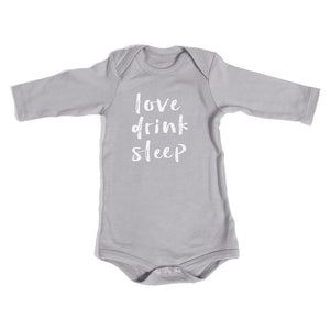 Organic Onesie - Long Sleeve Gray (Love, Drink, Sleep)