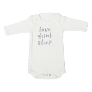 Organic Onesie - Long Sleeve Off White (Love, Drink, Sleep)