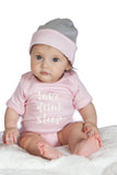 Organic Onesie - Short Sleeve Pink (Love, Drink, Sleep)