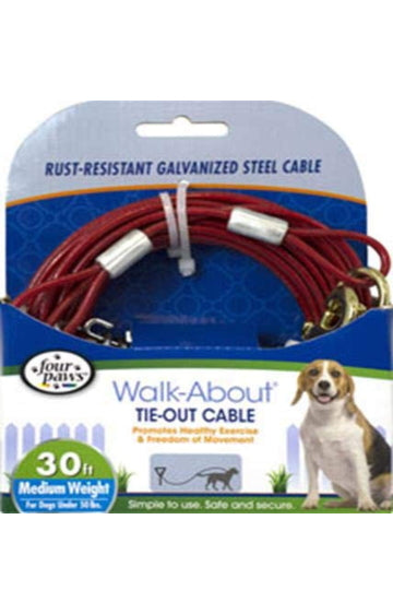 Four Paws Walk-About Tie Out Cable for Medium Dogs
