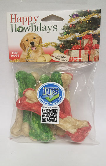 Pet Factory Holiday 4-inch Munchy Bones 5 Pack
