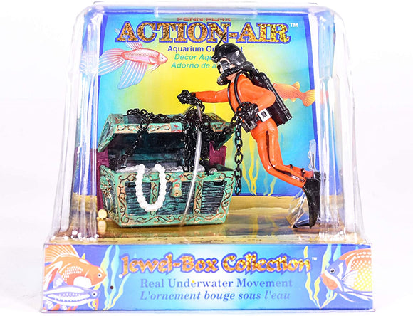 Penn Plax Action Treasure Chest and Diver Aquarium Ornament