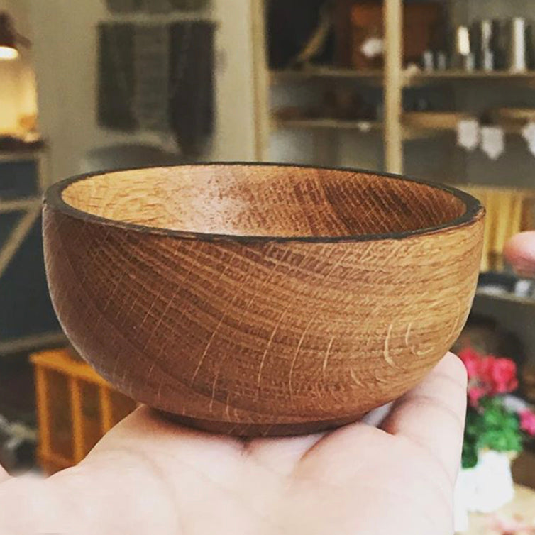 Oak bowl with scorched edge