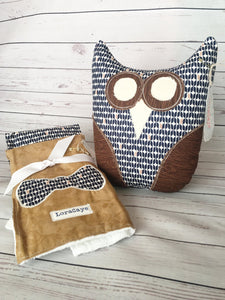 OWL Lovey & Burp Cloth Set