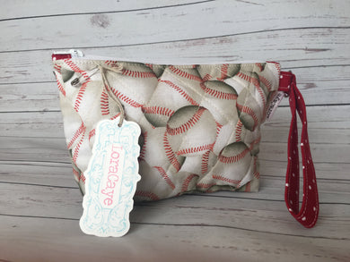 Cosmetic Bag - Baseball Bag with Wrist Strap