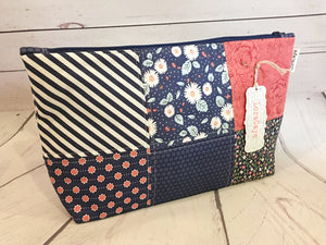Cosmetic Bag - Navy Patchwork Large