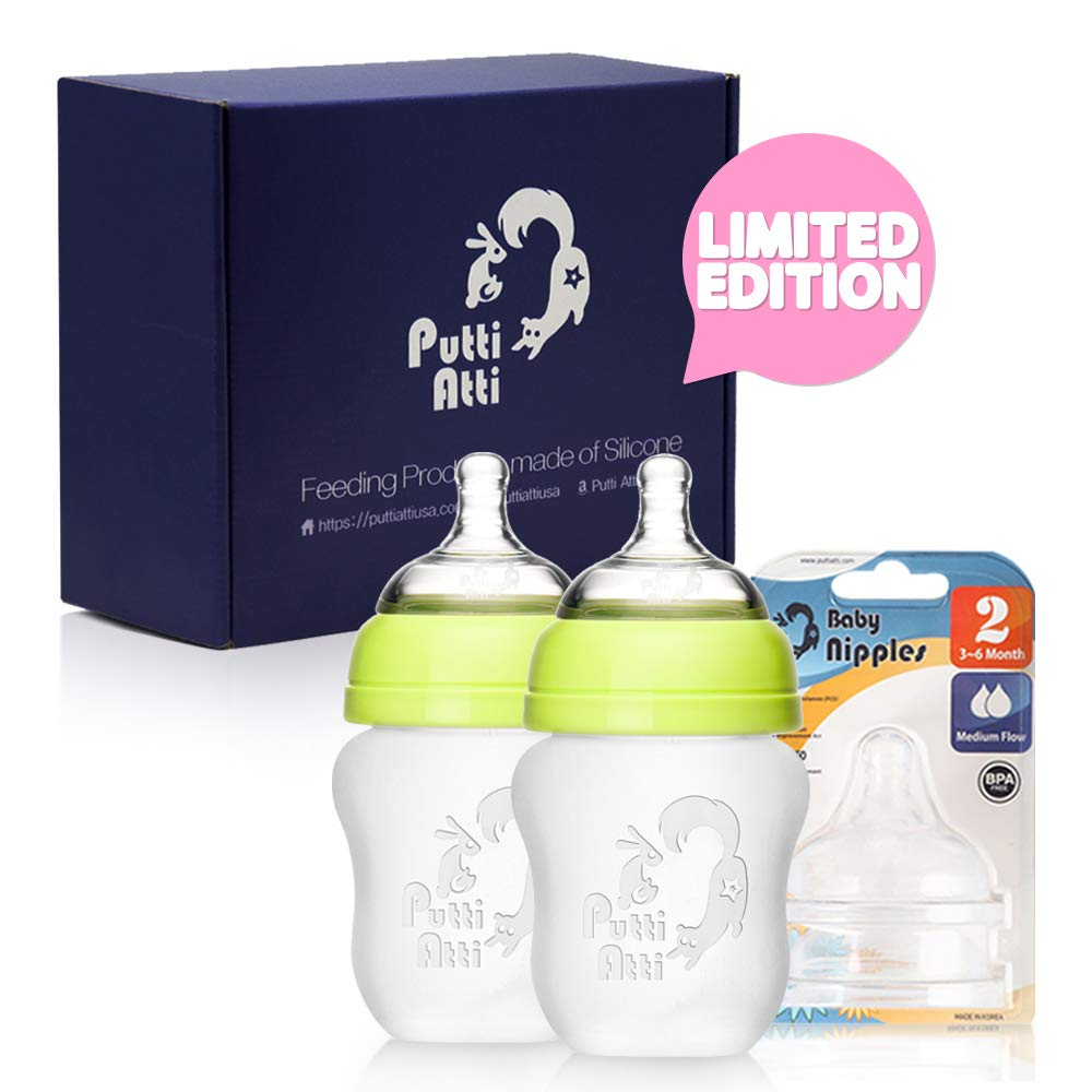 Putti Atti Silicone Baby Bottle 5.5 fl oz/Green/Pink/2 PK Bundle with Silicone Baby Nipple Stage 2 (3 Items)