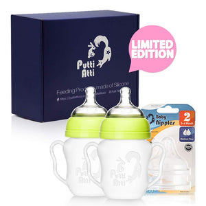 Putti Atti Silicone Baby Bottle with Handles 5.5 fl oz/Green/Pink/2 PK Bundle with Silicone Baby Nipple Stage 2 (3 Items)