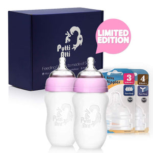 Putti Atti Silicone Baby Bottle 8.8 fl oz/Pink/Green/2PK Bundle with Silicone Baby Nipples Stage 3 & 4 (4 Items)