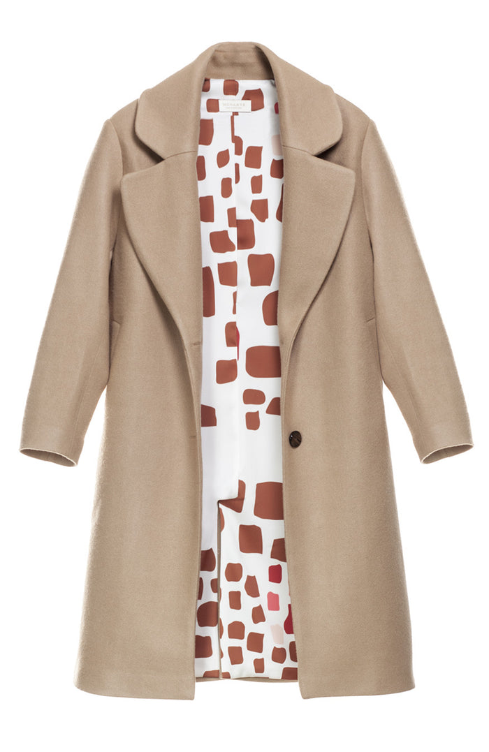 Hello Fall Beige Coat with wool