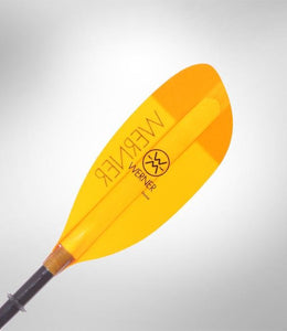 Werner Paddle Shuna 2 pc High Angle (Carbon Shaft/Fiberglass Blade) Amber - Cedar Creek Outdoor Center