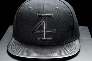 4Invictus - 4I Snapback Cap – Black Leather Pinned - Vorderseite Detail