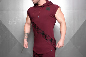 4Invictus - Elementum Sleeveless Vest – Bordeaux Red - Seitlich