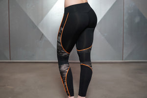 Body Engineers - ARES Camo Legging – Black & Dutch Orange - Rückseite