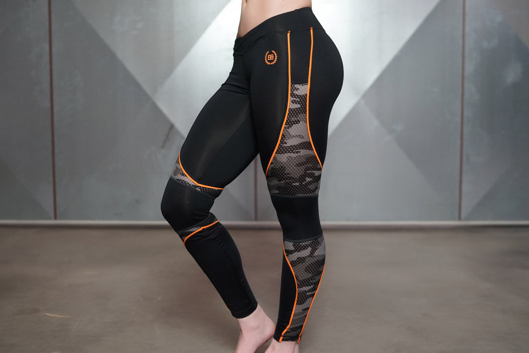 Body Engineers - ARES Camo Legging – Black & Dutch Orange - Seitlich