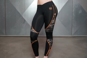 Body Engineers - ARES Camo Legging – Black & Dutch Orange - Vorderseite