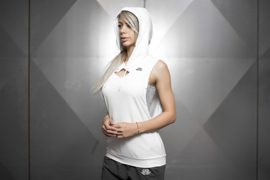 Body Engineers - Athena Prometheus Sleeveless Hoodie – White - Seitlich