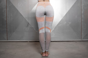 Body Engineers - Aurora Seamless Legging – Light Grey & Baby Orange - Rückseite
