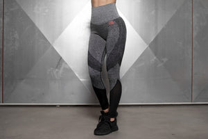 Body Engineers - CLEOPATRA Seamless Leggings High Waist – Anthra Grey & Black - Vorderseite
