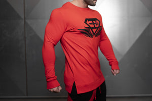 Body Engineers - VENOM Loose Fit Sweater – Fire Red - Seitlich