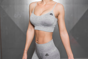 Body Engineers - Valkyrie Seamless Sports Bra – Light Grey - Vorderseite