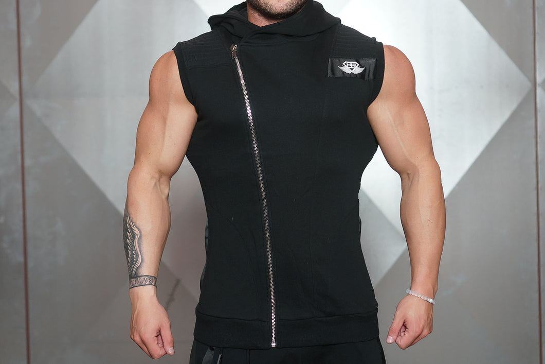 Body Engineers - YUREI Sleeveless Vest – All Black - Vorderseite Detail