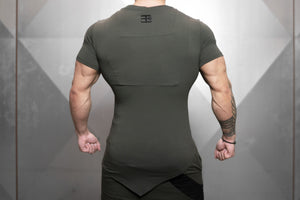 Body Engineers - YUREI X Prometheus 3.0 – Asymmetric V-Neck - Army Green - Rückseite