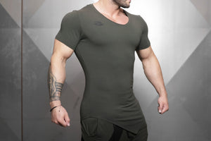 Body Engineers - YUREI X Prometheus 3.0 – Asymmetric V-Neck - Army Green - Seitlich
