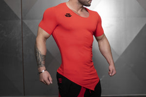 Body Engineers - YUREI X Prometheus 3.0 – Asymmetric V-Neck - Fire Red - Seitlich