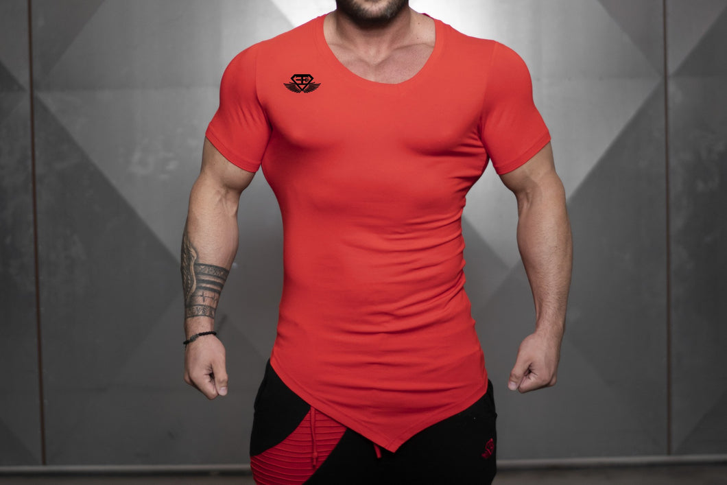 Body Engineers - YUREI X Prometheus 3.0 – Asymmetric V-Neck - Fire Red - Vorderseite