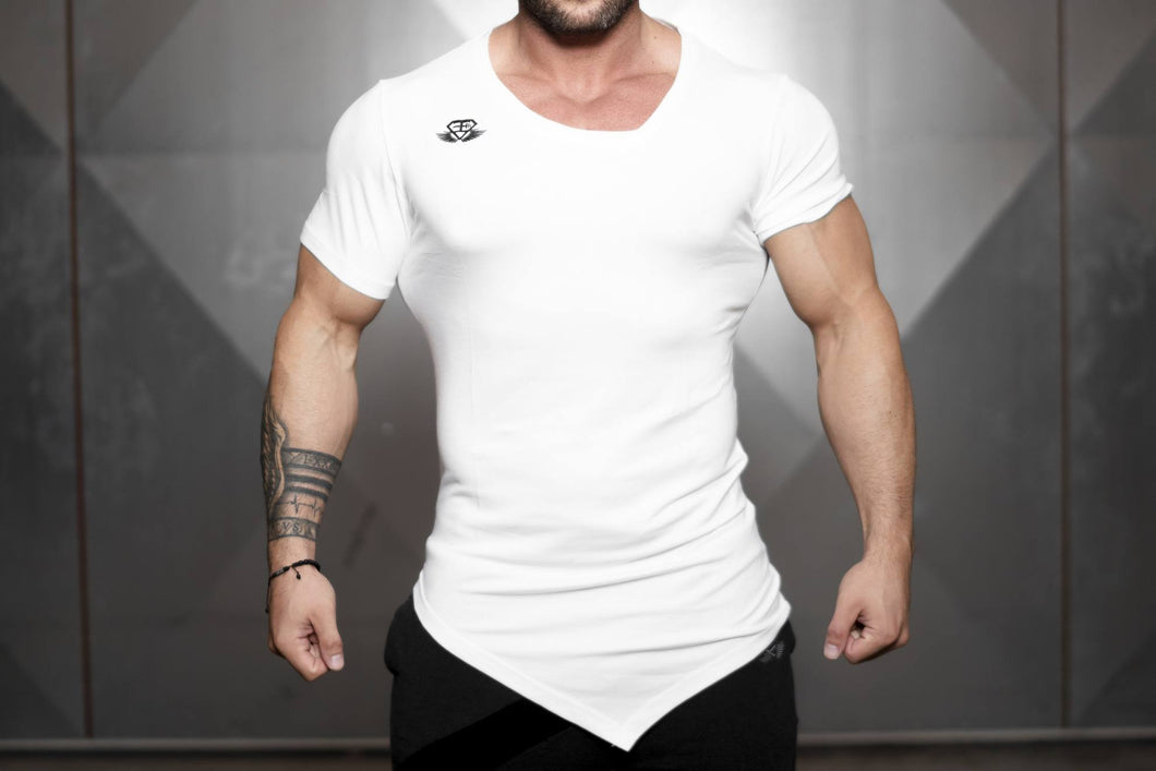 Body Engineers - YUREI X Prometheus 3.0 – Asymmetric V-Neck - White Out - Vorderseite