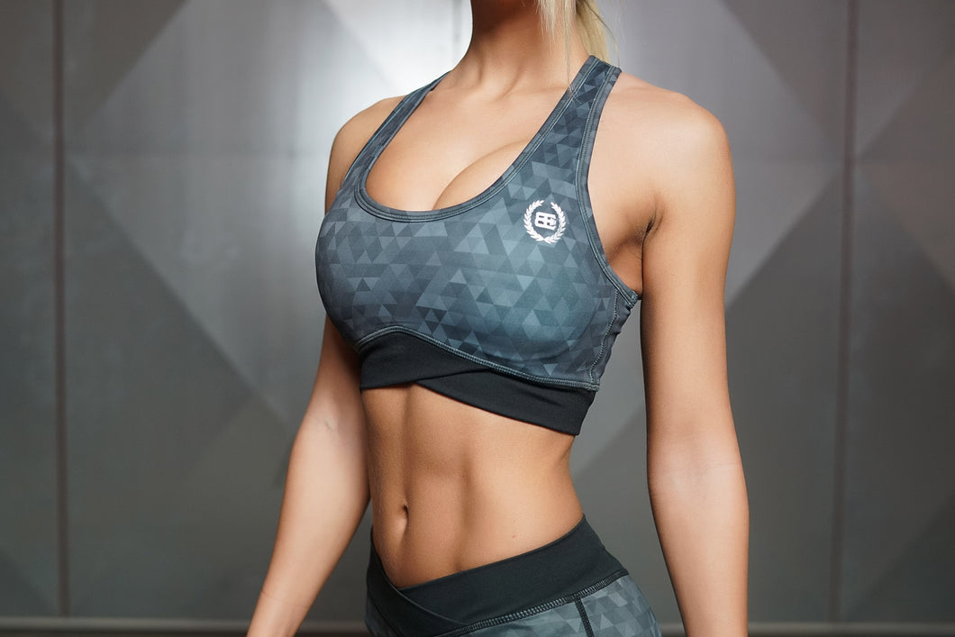 Body Engineers - GEO Sports Bra – Dark Grey - Vorderseite