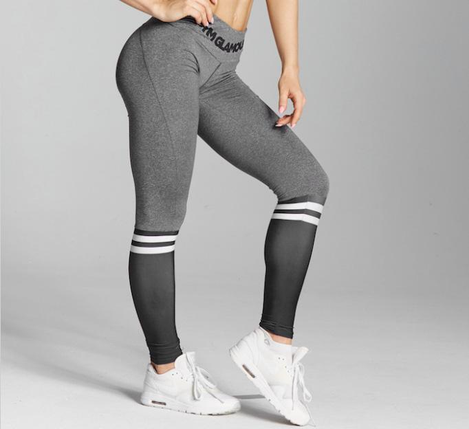 Gym Glamour - Leggings – Grey & Black Socks - Seitlich Detail