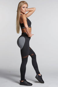 Gym Glamour - Leggings – Black & Grey Heart - Seitlich