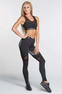 Gym Glamour - Leggings – Black & Grey Heart - Vorderseite