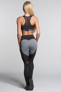 Gym Glamour - Leggings – Black & Grey Heart - Rückseite Gesamt