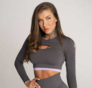 Gym Glamour - Rashguard - Space Grey - Vorderseite Detail