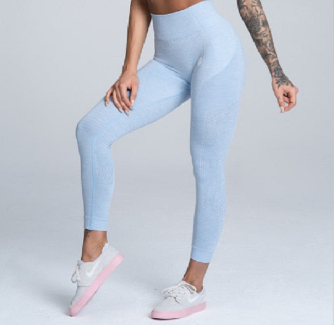 Gym Glamour - Seamless Leggings – Dream Blue - Vorderseite Detail