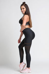 Gym Glamour - Leggings – Black Mesh - Seitlich 3